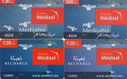129 Maroc Marokko Morocco 4 Recharges Gsm  Prépayée Diff Méditel - Maroc