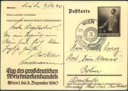 """1940, Privatgsnzache """"Tag Des Großdeutschen Briefmarkenhandels"""" SOnderstempel - Stamped Stationery"""