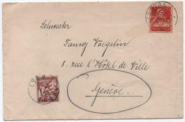 Lettre Régime Intérieur Suisse Adressée Par Erreur En France TAXE 1F Banderole Duval Annulée LYON 1928 - Taxes