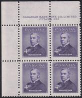 Canada 1954 MNH Sc #349 4c Sir John Thompson Plate #2 UL - Numeri Di Tavola E Bordi Di Foglio