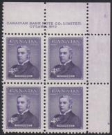 Canada 1954 MNH Sc #349 4c Sir John Thompson Plate #2 UR - Numeri Di Tavola E Bordi Di Foglio