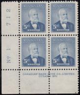 Canada 1954 MNH Sc #350 5c Sir Mackenzie Bowell Plate #1 LL - Numeri Di Tavola E Bordi Di Foglio