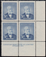 Canada 1954 MNH Sc #350 5c Sir Mackenzie Bowell Plate #1 LR - Numeri Di Tavola E Bordi Di Foglio