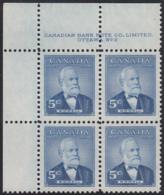 Canada 1954 MNH Sc #350 5c Sir Mackenzie Bowell Plate #2 UL - Numeri Di Tavola E Bordi Di Foglio