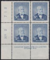 Canada 1954 MNH Sc #350 5c Sir Mackenzie Bowell Plate #2 LL - Numeri Di Tavola E Bordi Di Foglio