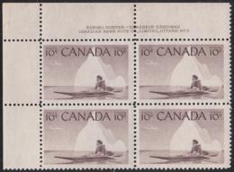 Canada 1955 MNH Sc #351 10c Inuk And Kayak Plate #3 UL - Numeri Di Tavola E Bordi Di Foglio