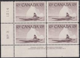 Canada 1955 MNH Sc #351 10c Inuk And Kayak Plate #3 LL - Numeri Di Tavola E Bordi Di Foglio