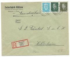 """DEUTSCHES REICH Firmen-R-Brief Stargard """"Zuckerfabrik Klützow"""" 1932 Nach Hildesheim - Storia Postale"""