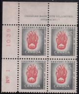 Canada 1956 MNH Sc #364 5c House On Fire Plate #1 UL - Numeri Di Tavola E Bordi Di Foglio