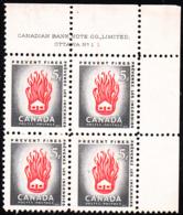 Canada 1956 MNH Sc #364 5c House On Fire Plate #1 UR - Numeri Di Tavola E Bordi Di Foglio