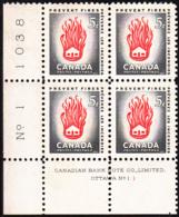 Canada 1956 MNH Sc #364 5c House On Fire Plate #1 LL - Numeri Di Tavola E Bordi Di Foglio