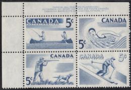 Canada 1957 MNH Sc #368a 5c Recreation Sports Plate #1 UL - Numeri Di Tavola E Bordi Di Foglio