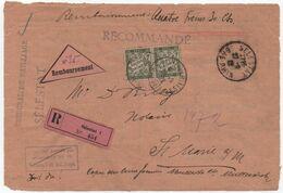 Alsace Devant Tarif Imprimé Recommandé Contre-remboursement 1922 Taxe Simple Paire 20c Banderole Bas-Rhin - Taxes