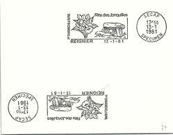 SPECIMEN SECAP - REIGNIER FÊTE DES JONQUILLES  / 1-77eR DIMANCHE D'AVRIL - 13.1.81 / 1-78 - Mechanical Postmarks (Advertisement)