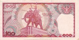 BILLETE DE TAILANDIA DE 100 BATH SERIE 4D DEL AÑO 1978 ELEFANTE -ELEPHANT (BANKNOTE) - Thaïlande