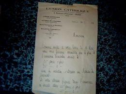 Vieux Papier Lettre à Entête L'union Catholique De Rodez  Année 1943 - Altri