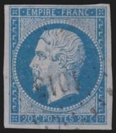 France N°14Ae, Napoléon 20c BLEU-SUR-LILAS, Oblitéré PC 1015 COZES - B/TB - 1853-1860 Napoléon III