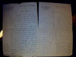 Vieux Papier Lettre  Manuscrite à Entête X 2 Petit Séminaire De Massals Tarn   Année 1944 - Otros