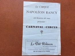 PROGRAMME CIRQUE  CIRQUE NAPOLEON RANCY  Carnaval Circus   LE PETIT ROBINSON  Joinville-Le-Pont - Programmes