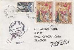 LETTRE COMPAGNIE GENERALE MARITIME PAQUEBOT ROSTAND - GENOVA PORTO 27.1.88 / 6915 - Postmark Collection (Covers)
