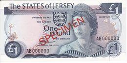 SPECIMEN - BILLETE DE JERSEY DE 1 POUND DEL AÑO 1976 SIN CIRCULAR (BANKNOTE) UNCIRCULATED - Jersey
