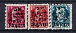 ALLEMAGNE Bavière 1919:  La Série Complète Y&T 171-173 Neufs* - Bayern