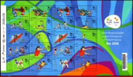 Ref. BR-3307 BRAZIL 2015 SPORTS, OLYMPIC AND PARALYMPIC, GAMES, RIO 2016, 2ND SERIES SHEET MNH 20V Sc# 3307 - Verano 2016: Rio De Janeiro