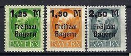 ALLEMAGNE Bavière 1920:  La Série Complète Y&T 174-176 Neufs* - Bayern
