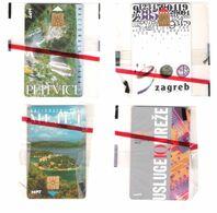 Croatia - 4 New Cards - Mint In Blister - Mljet - Zagreb - Plitvice - Usluge IQ Mreze - - Croatia