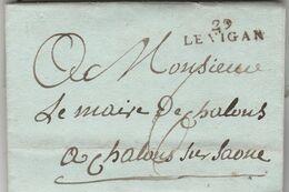 LAC De Méjean Aulas Marque Postale 29 LE VIGAN Gard 12/9/1812 à Maire Chalon Sur Saône Saône Et Loire VOIR DESCRIPTION - Marcophilie (Lettres)