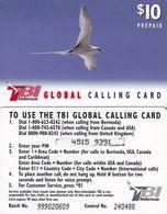 BERMUDA ISL. - Bird, TeleBermuda Prepaid Card $10(black Logo On Reverse), BN : 9 Digits & CN : 6 Digits, Used - Bermude