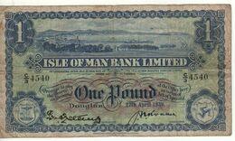 ISLE Of MAN   1 Pound  P6b  (Isle Of Man Bank Ltd)  Dated 27th April 1939 - 1 Pound