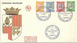 ANDORRE FRANCAIS - FDC ECU DES VALLEES 1780 ANDORRE LA VIEILLE 17 JUIN 1961 / 4 - FDC