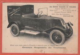 CPA Carte Publicitaire 31Toulouse Grands Magasins Rue Des Salenques Voiture Tacot De Livraisons Recto/Verso - Toulouse