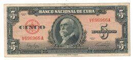 Cuba 5 Pesos 1949, VF. - Cuba