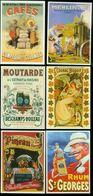 """Reproduction De """"réclames"""" Début 20eme Concernant Rhum Pineau Cognac Moutarde Materiel Agricole Café Lot De 6 - Pubblicitari"""