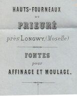 1867 / Facture Hauts-Fourneaux Du Prieuré Près Longwy 57 / Fonte / ADELSWARD / Cachet GC 2081 / à Marquis Raincourt 70 - 1800 – 1899