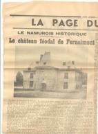 """FERNELMONT - Un Château Féodal  -  Article Du Journal """" Vers L'Avenir """" Du 08/11/1935 Et 22/07/1934 - Vieux Papiers"""