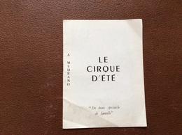 PROGRAMME CIRQUE  MEDRANO Le Cirque D'Ete  St RAPHAEL QUINQUINA - Programmi