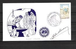 ENVELOPPE ILLUSTREE 1979  / Cachet Hommage à CHRISTOPHE 1ER Maillot Jaune DÉDICACE André LEDUCQ  Vainqueur 1930 Et 1932 - Handtekening