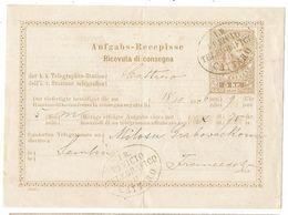 Austria Montenegro 1876 Cattaro Telegraph Station Certificate To Zemun Danube - Montenegro