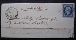 Carpentras 1855 Pc 619 Sur N°14, Lettre Pour Marseille - 1849-1876: Classic Period