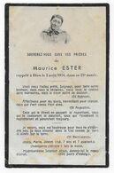 AVIS DE DECES MAURICE ESTER 2 AOUT 1934 A 23 ANS - Décès