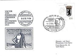 Germany 1994 Cover: Cancelled Olympic Games 1916 Berlin; Viktor Von Podbielski - Deutsches Stadium Grunewald - Other