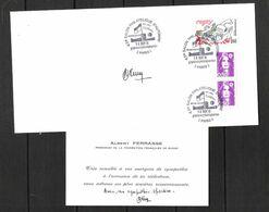 ENVELOPPE Et CARTE De VISITE 1991  /  DÉDICACE D' Albert FERRASSE / Président De La Fédération Française De Rugby - Handtekening