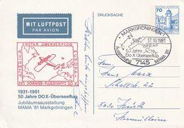 "Bundesrepublik Deutschland / 1981 / Privat-Lupo-Postkarte ""DOX-Ueberseeflug"" SSt. ""MARKGROENINGEN"" (CE92) - Private Covers - Mint"