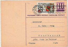 1941 / Entier + Complément Pour La France / Zürich Flamme / Pour Hahn-Lang à Courbouzon 39 Jura - Stamped Stationery
