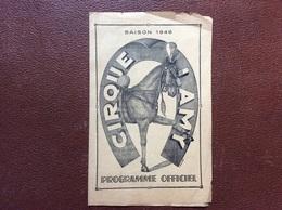 PROGRAMME CIRQUE  CIRQUE LAMY  Année 1946 - Programmi