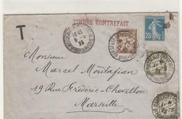 LETTRE AVEC TIMBRE CONTREFAIT DIT FAUX DE NICE . MAI 1923 .LETTRE TAXEE - Marcophilie (Lettres)