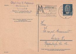 """DDR / 1954 / Postkarte Mi. P 58 Werbe-Stempel Leipzig """"Messe"""" (CF08) - Postkarten - Gebraucht"""